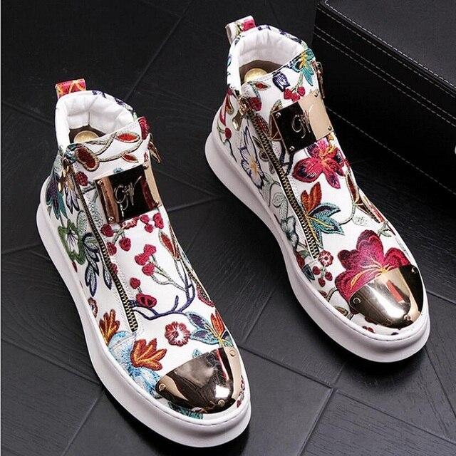 Zapatos bordados de estilo británico para hombre, zapatillas de lujo informales de goma inferior, color dorado y rojo, alta calidad, 2019 1