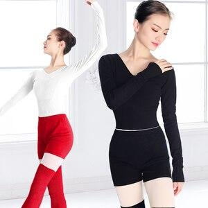 Image 4 - 新スタイルの女性バレエダンススーツ 2 個セーターショートパンツとトップス秋冬暖かい大人ニットダンスの衣装バレエ