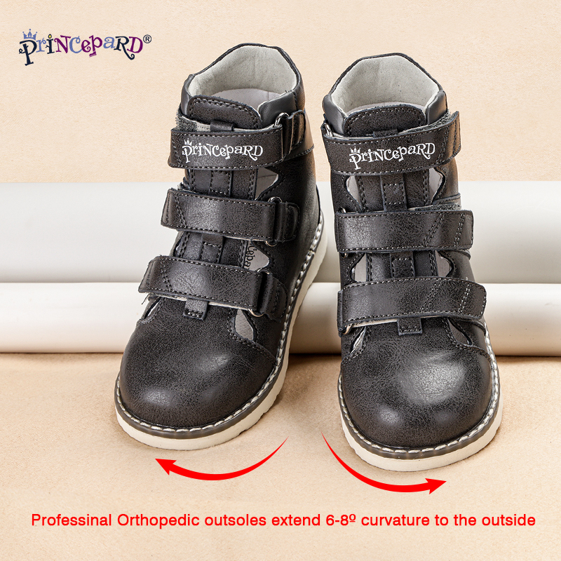Princepard Toddler Boys Sandals Orthopedic Kids Shoes Children Apring Summer Orthopedic Shoes Leather Sandals For Kids
