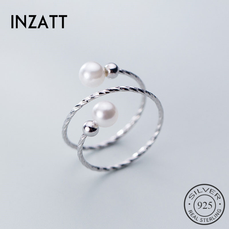 INZATT Real 925% Sterling Silver Minimalist Pearl spiral Ring For Women Birthday Party Classic Fine Jewelry Accessories Gift