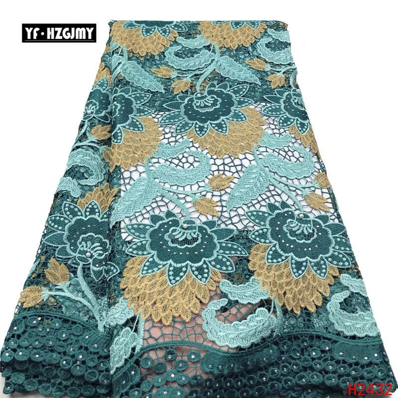 YF HZGJMY Nigeriano Africano Lace Tecidos de Alta Qualidade 2019 Bordado Tecidos de veludo Francês Rendas Projeto Especial Com Pedras A2691 - 2