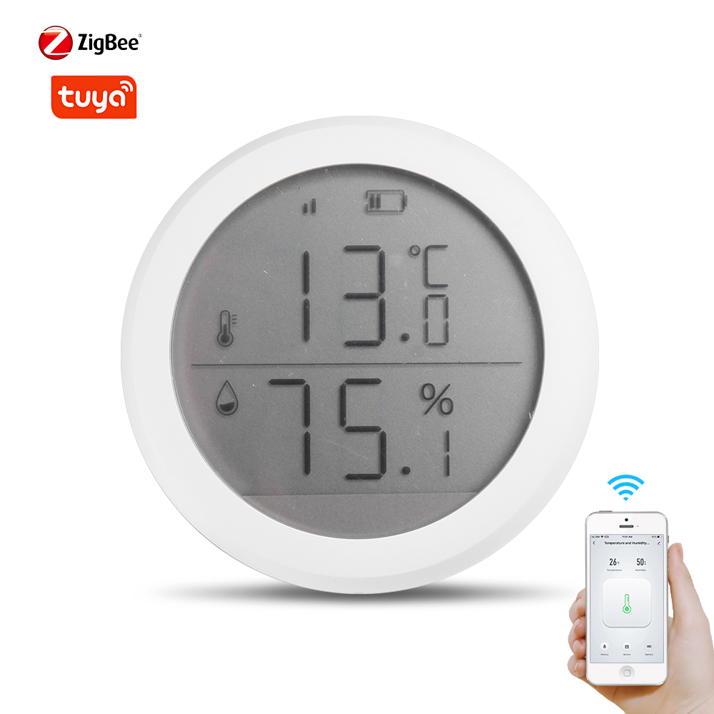Tuya Zigbee Temperature And Humidity Sensor With LCD Screen Display Works With Amazon Google Home  For Smart Home