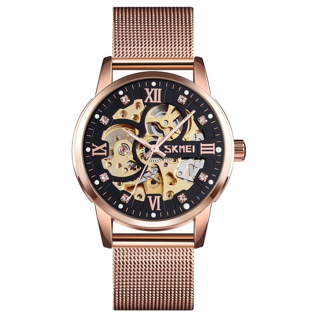 Permalink to Automatic Mechanical Watch Mesh Belt Waterproof Gear Mechanical Men's Watch Night light function Dual time settings