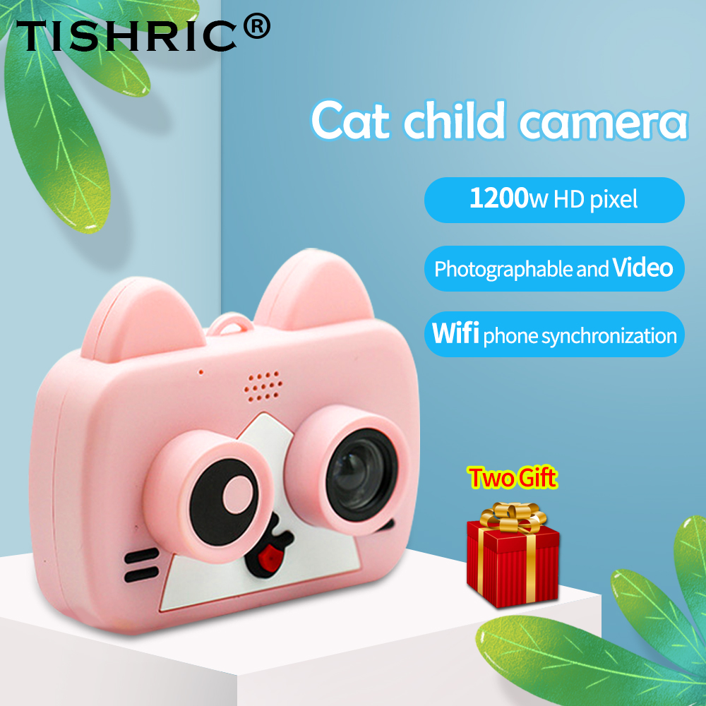 TISHRIC 1200W WIFI Children's Camera Mini Cute cat Digital Kids Camera For child Baby Photo selfie 1080P with Flash Memory Card