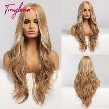 TINY LANA Long Wavy Blonde Synthetic Wigs with Highlights Middle Part for Afro Women Cosplay Natural Hair Heat Resistant Fibre