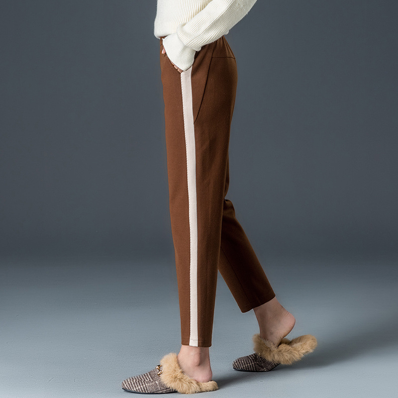 2019 Autumn New Style Harem   Pants   Women's Elastic Thick Woolen Side Bar Baggy   Pants     Capri   Casual WOMEN'S   Pants   9080