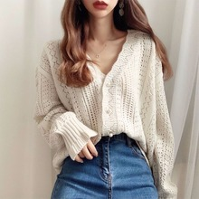 Women Sweater Retro Hollow Lazy Knit Cardigan Sweater Loose Crochet V-neck Single-breasted Jumpers Female Spring Summer