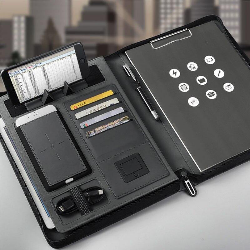 Porte-fichiers A4 de sac de Document d'affaires pour le bloc-notes de tirette de support d'ipad Porfolio avec la batterie externe de remplissage sans fil de 5000 mAH à l'intérieur