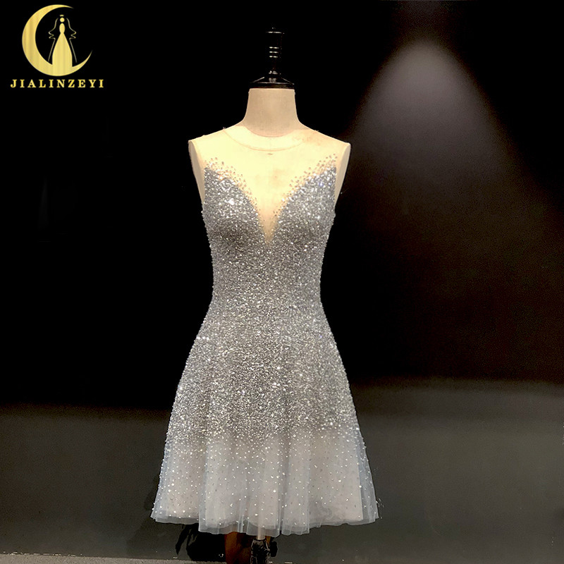 Rhine Real Pictures Sexy Grey Blue Luxurious V Neck And V Back Knee Length Party Dresses Prom Dresses 2020