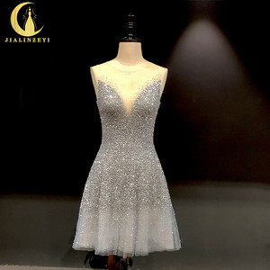 Image 1 - Rhine real Pictures Sexy grey blue luxurious V neck and v back Knee Length Party Dresses Prom dresses 2020