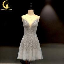 Rijn Real Pictures Sexy Grijs Blauw Luxe V hals En V Terug Knie Lengte Party Jurken Prom Dresses 2020