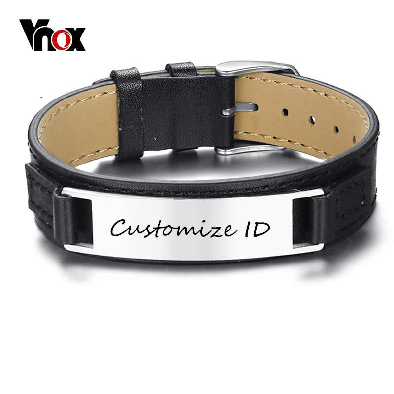 Vnox New Stylish Men's Black Leather Bracelet Free Engraving 12MM Personalized ID Pulseira Masculina Length Adjustable