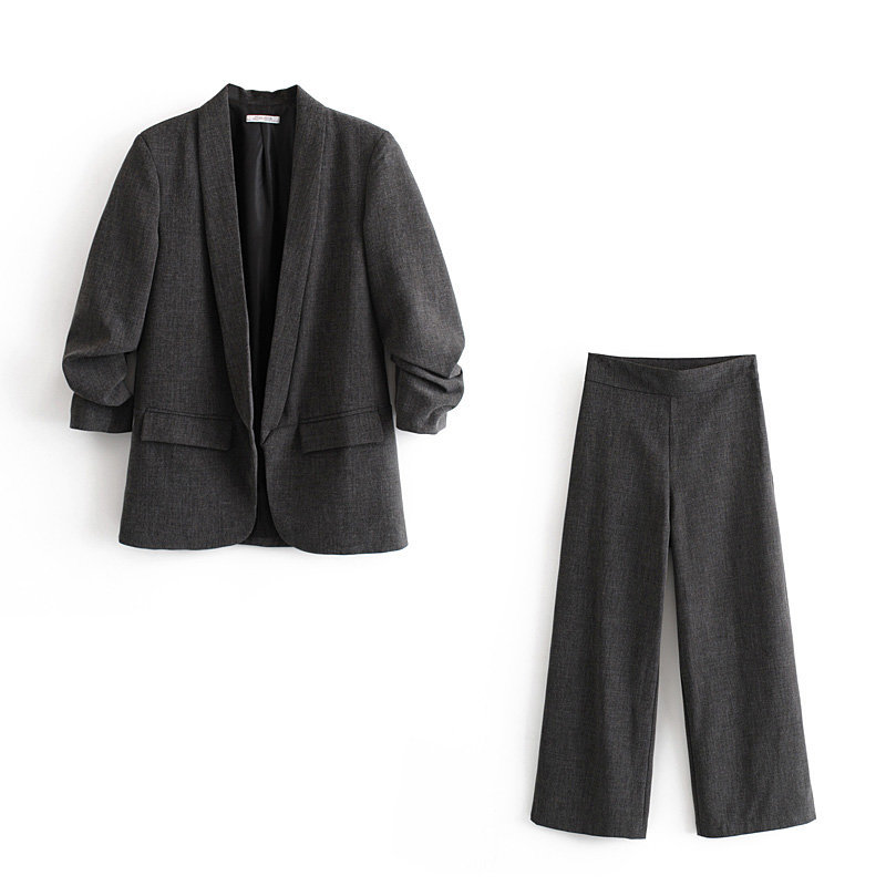 Winter Casual Women's Pants Suits Two-piece Suit 2019 Fashion Can Roll Sleeves Ladies Jacket Blazer Temperament Wide Leg Pants