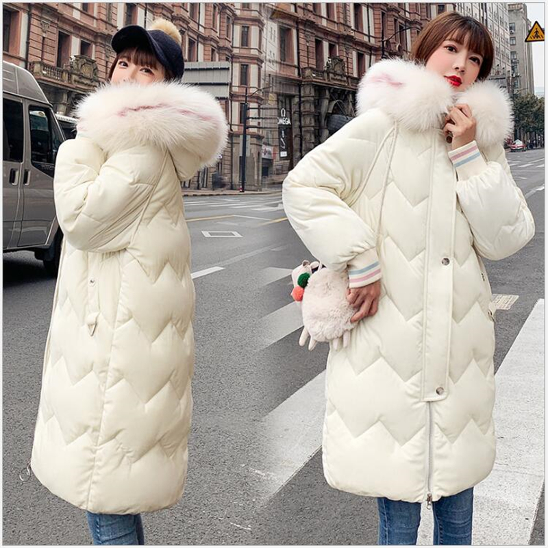 winter women coat fur collar thicken warm long jacket female plus size 3XL velvet outerwear women   parka   chaqueta feminino E16