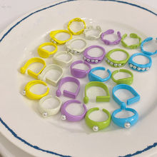 AOMU 2 unids/set 2021 nueva moda verde geométrica amarillo cadena redonda perla acrílica de imitación anillos abiertos para juego de anillos para mujer joyería