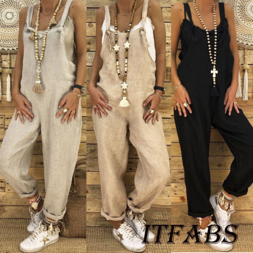 2019 New Women Loose Playsuit Cotton Linen Overalls Wide Leg Haren Pants   Rompers   Jumpsuit