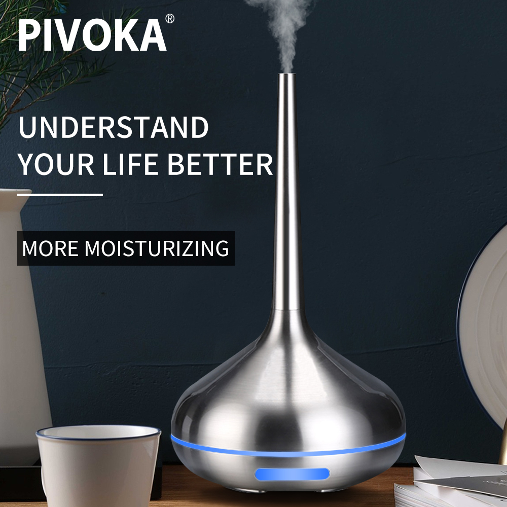 PIVOKA Air Humidifier Aroma Diffuser Essential Oil Aromatherapy Ultrasonic Humidifier USB Mist Maker Housing Led Metal Surface