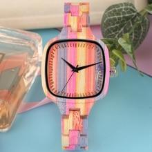 New Fashion Color Stitching Wood Watch Square Quartz Clock Elegant Wome