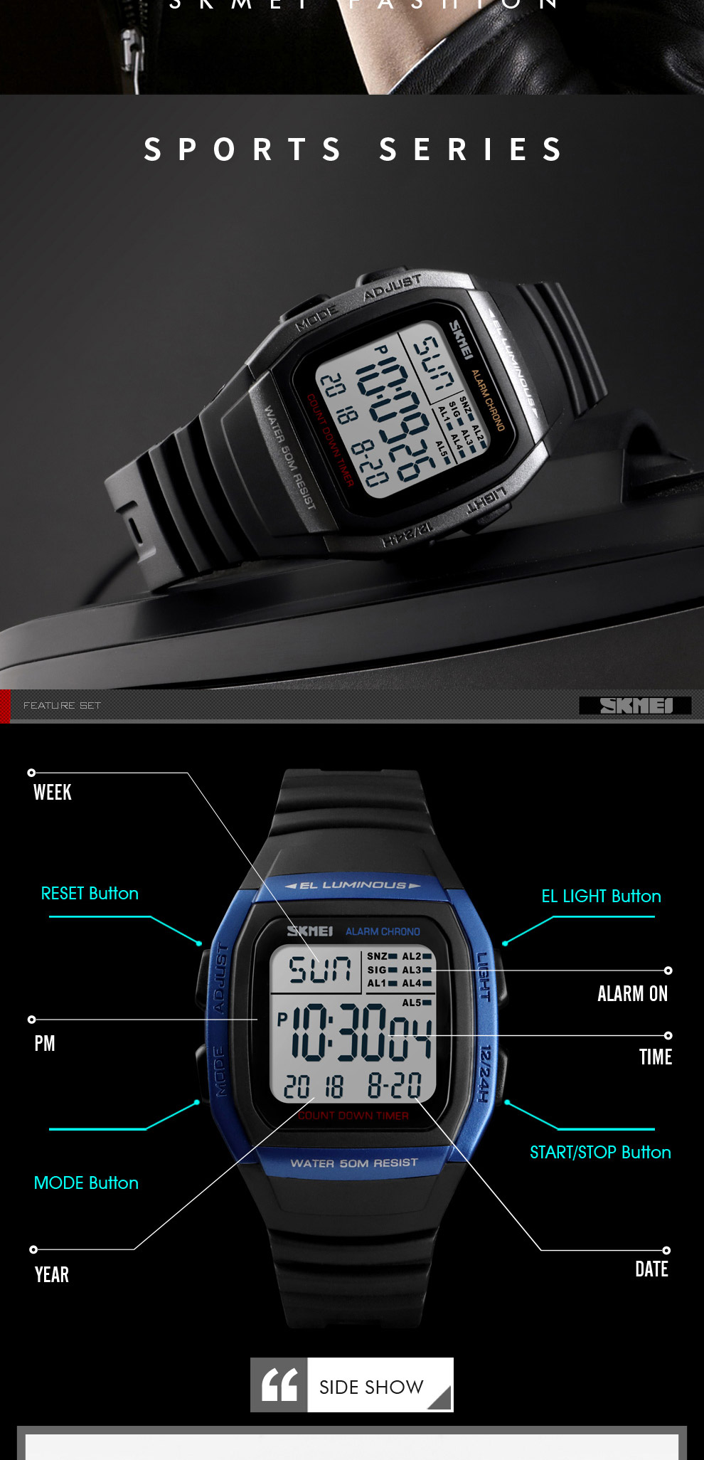IsMyStore: SKMEI New Fashion Digital Electronic Men Watches Sport Waterproof Alarm Wristwatch Military Chronograph Clock Relogio Masculino