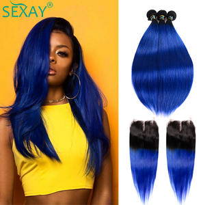 Sexay Ombre Bundles Closure Hair-Weaves Blue Straight Pre-Colored Brazilian with Dark-Roots