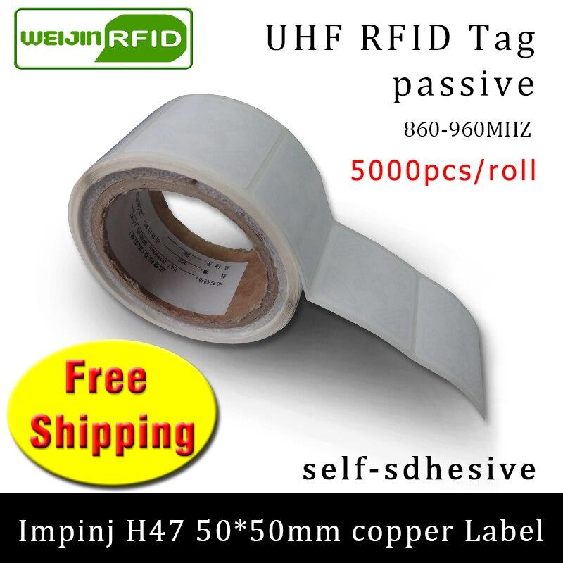 UHF RFID Tag Sticker Impinj H47 Printable Copper Label EPC6c 860-960MHZ  5000pcs Free Shipping Adhesive Passive RFID Label