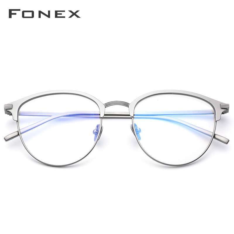 FONEX Pure B Titanium Glasses Frame Men Round Prescription Eyewear Myopia Optical Spectacles Eyeglasses With Ceramics Nose Pad