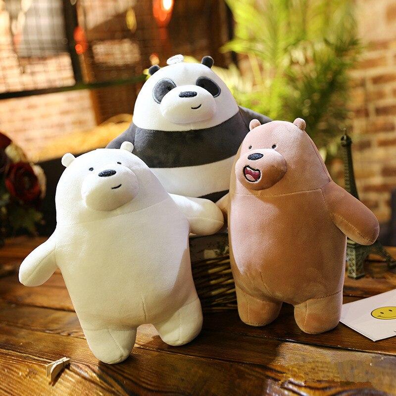 25cm Kawaii We Bare Bears Plush Toy Cartoon Bear Stuffed Grizzly Gray White Bear Panda Doll Kids Love Birthday Gift