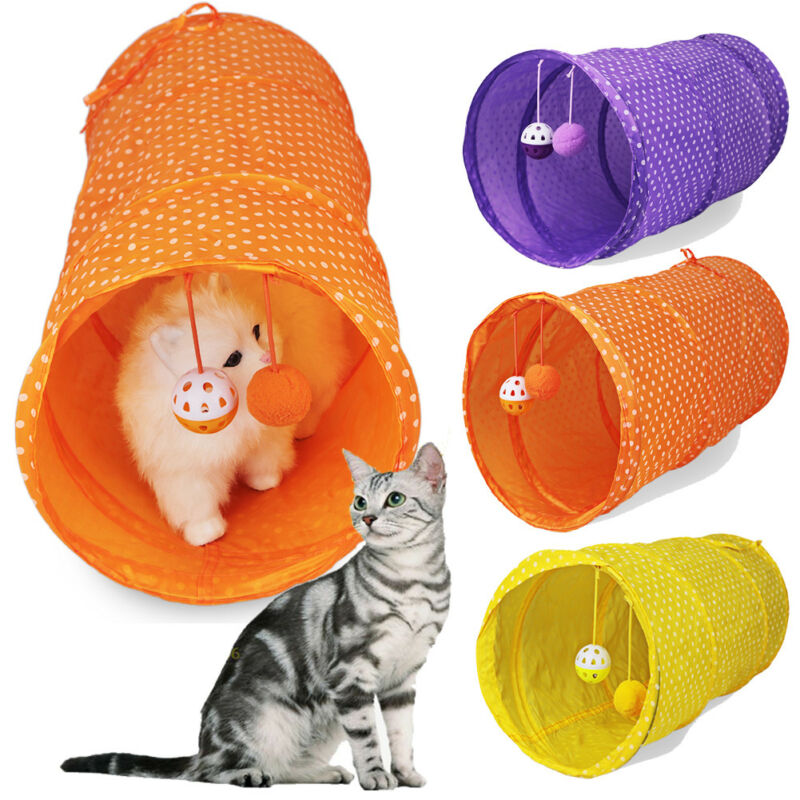 Pet Cat Tunnel Tubes Collapsible Crinkle Kitten Rabbit Play Funny Tunnels Toy Pet Tunnel Toy Cat Rabbit Hamster Toy image