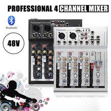 LEORY Профессиональный 4 канала Live DJ аудио микшер bluetooth звук микшерный пульт с USB MP3 Разъем для караоке KTV музыкальное шоу