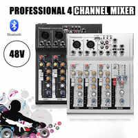 LEORY Professionelle 4 Kanäle Live DJ Audio Mixer bluetooth Sound Mischpult Mit USB MP3 Jack Für Karaoke KTV Musik zeigen