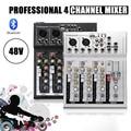 Leory profissional 4 canais ao vivo dj áudio mixer bluetooth som mixagem console com usb mp3 jack para karaoke ktv música mostrar