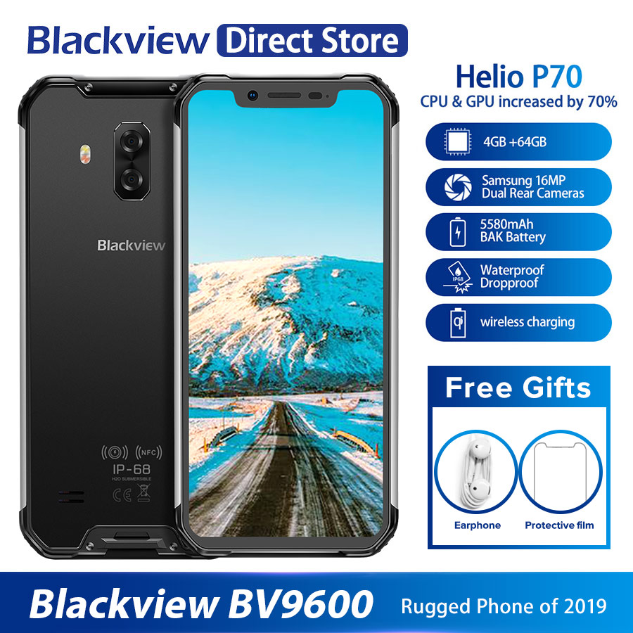 """2019 New Blackview BV9600 Waterproof Mobile Phone Helio P70 Android 9.0 4GB+64GB 6.21"""" 19:9 AMOLED 5580mAh Rugged Smartphone"""