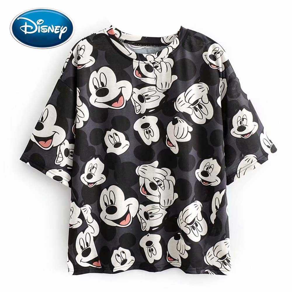 Disney bonito mickey mouse impressão dos desenhos animados chique preto camiseta o-pescoço pulôver meia manga casual moda feminina solta camisetas