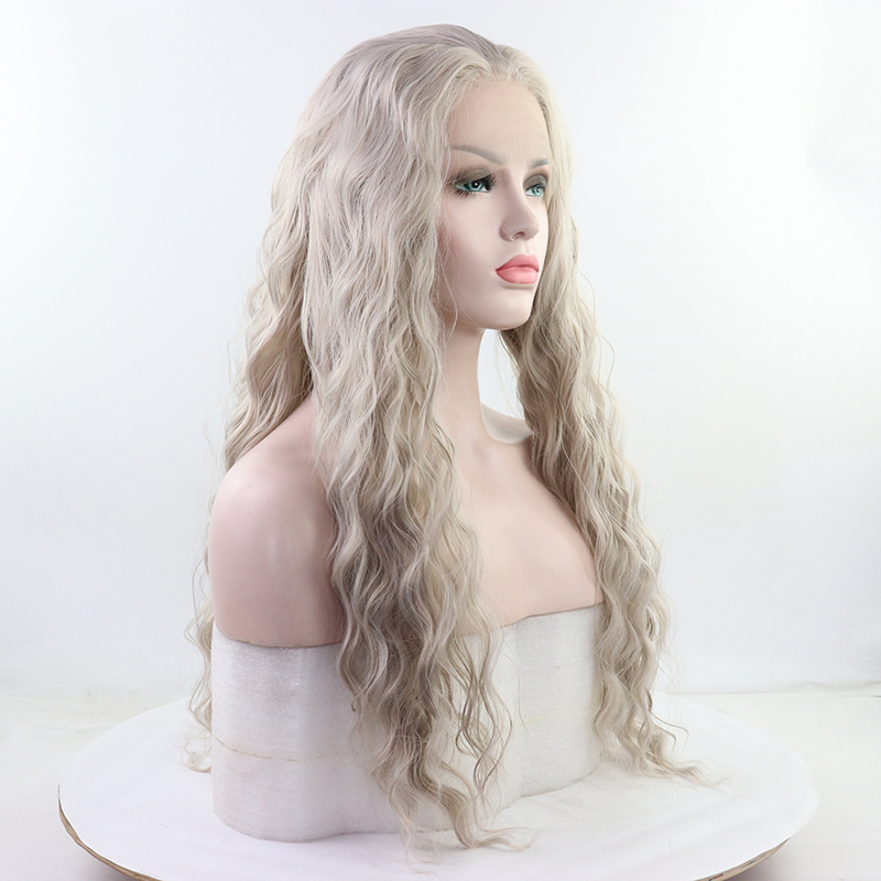 Synthetic Lace Front Wigs For Black Women  Grey Hair Heat Resistant Fiber Long Bohemian Curly Frontal Lace Wigs