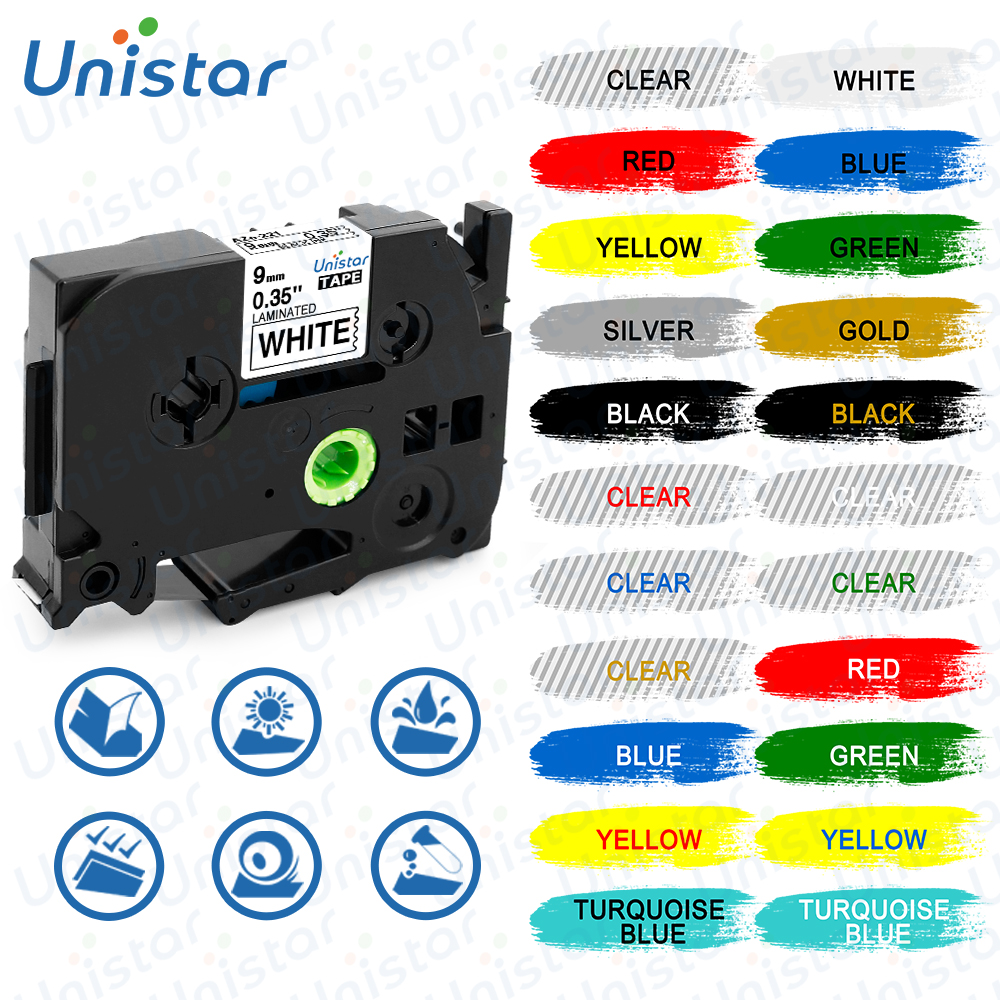 Unistar TZe221 Compatible For Brother P-touch Tape 9mm Black Yellow Combo Set Laminated Printer Supplie Label Maker TZe221 TZ621
