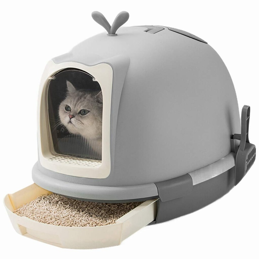 Cat Litter Box Fully Enclosed Cat Toilet With Automatic Purifier Deodorant And Splash Prevention Large Sand Box Pet Cat Bedpan(China)