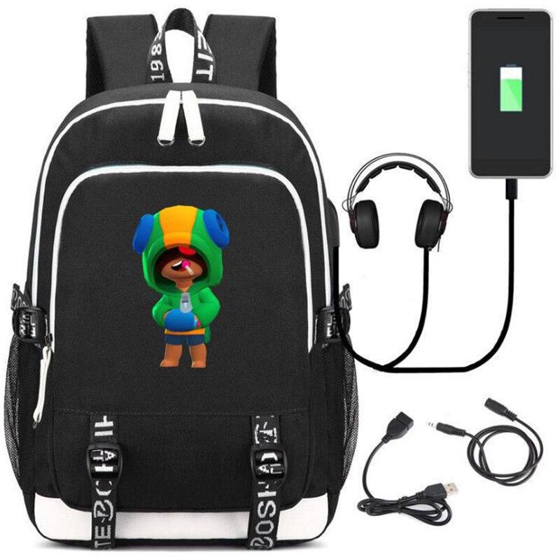 BRAW-L STAR-S School Bags Bookbag Anime Game Character Leon Backpack Travel Bag Kids Teens for Gift