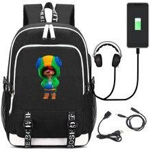 BRAW-L STAR-S sacos de escola bookbag anime personagem jogo leon mochila saco viagem crianças adolescentes para o presente