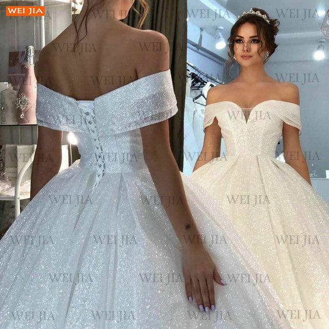 Shiny White Wedding Dresses Lace Up Reflective 2021 Vestido De Noiva Off Shoulder Women Bridal Gowns Customized Suknia Slubna 4