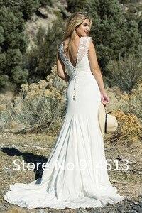 Image 2 - Привлекательное свадебное платье с v образным вырезом, прозрачное ТРАПЕЦИЕВИДНОЕ свадебное платье с бисером, кружевной аппликацией, карманами, фатиновой атласной юбкой Vestido de noiva