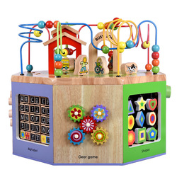 Children Wooden Extra Large Multi-functional Large Bead-stringing Toy Wood Treasure Chest Beaded Bracelet Eight Educational Toy