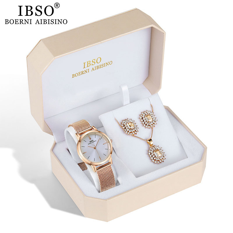 IBSO Brand Quartz Wristwatches Necklace Earring Combination Set Women Watch Female Jewelry Metal Strap Watches for Ladies Gift in Women 39 s Watches from Watches