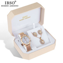 IBSO Brand Quartz Wristwatches Necklace Earring Combination Set Women Watch  Female Jewelry Metal Strap Watches for Ladies Gift