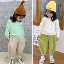 2019 automne nouveauté style coréen décontracté couleur pure velours côtelé lâche harlen pantalons longs pour la mode doux bébé filles et garçons