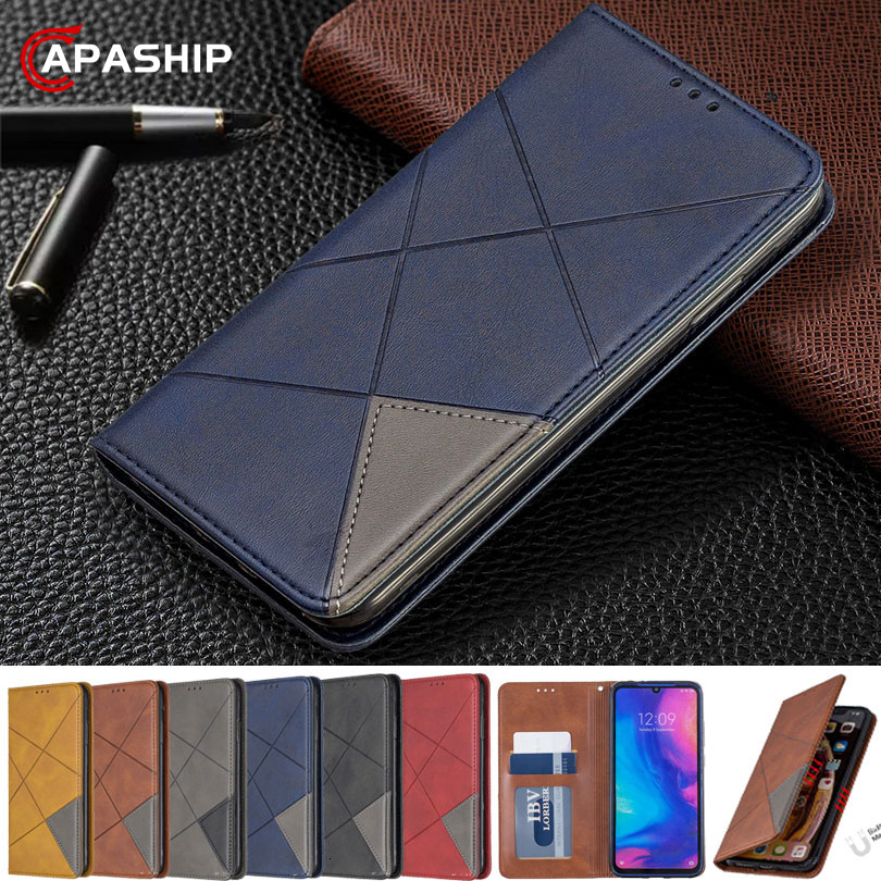 Geometric Leather Flip Case For Huawei Mate 30 20 P30 lite Pro P Smart Honor 7A 7C 8A 8S 9X Y5 Y6 Y7 Cover Business Wallet Bags