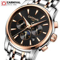 Marque de luxe carnaval montres automatiques hommes montres mécaniques étanche 30m mode heures Relogio lune Phase montre lumineuse