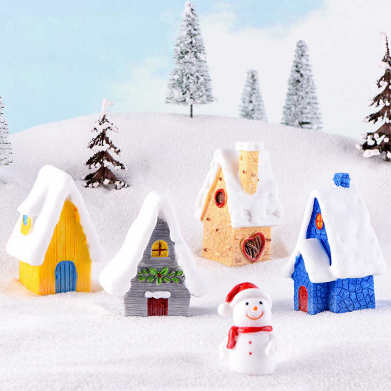 Fairy Christmas Snow House Figurines Tiny Garden Miniatures Resin Craft Micro Landscape Christmas New Year Decor for home 1PC