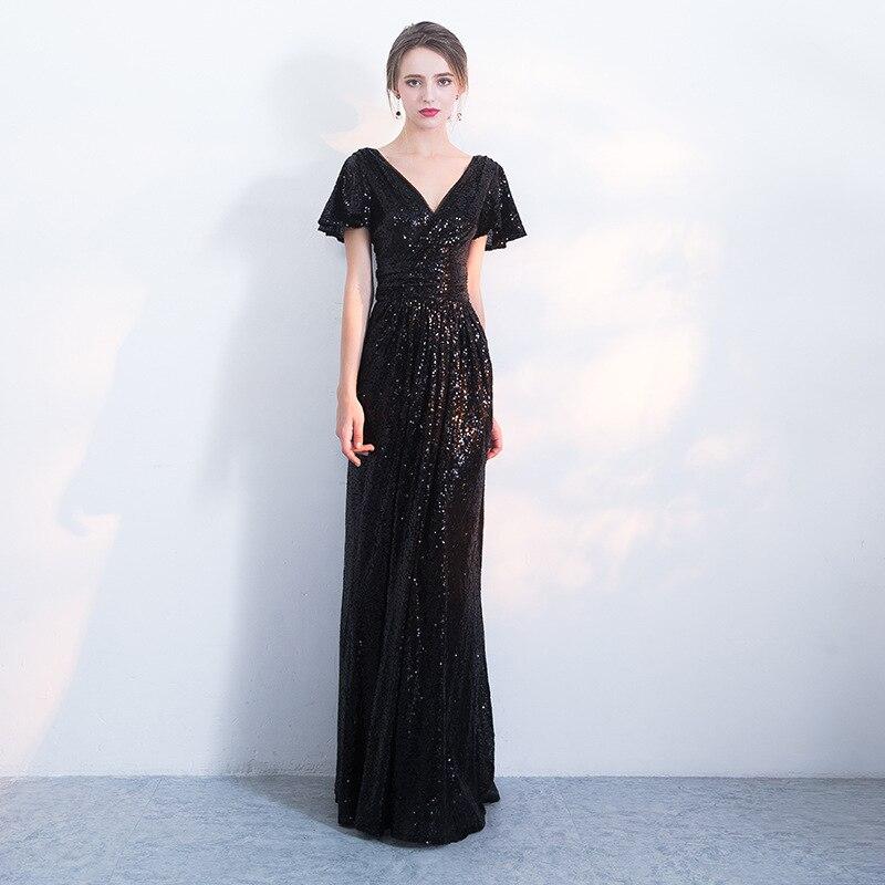 Black V-neck Evening Party Dress Bling Sequins Mermaid Dress Noble Prom Dress Elegant Formal Party Dress Maxi Dress Big Size 3XL