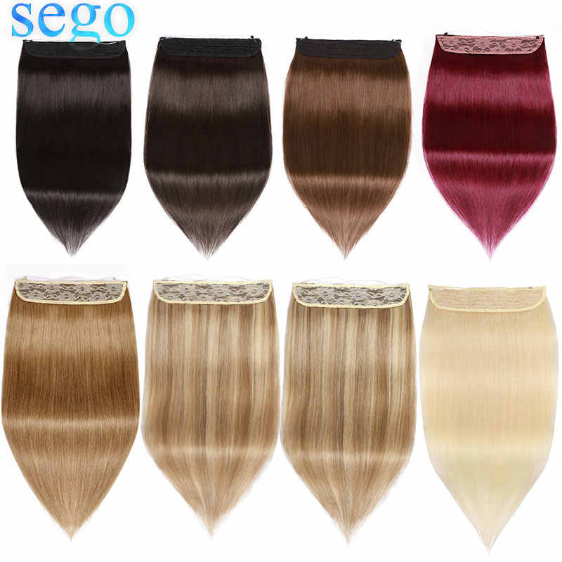 "SEGO 16""-22"" 90g-120g Straight Invisible Wire Hair Extensions Secret Fish Line Hairpieces Non-Remy 100% Real Human Hair No Clips"