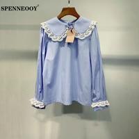 SPENNEOOY Designer Custom Runway Autumn Women Elegant Fashion Shirt Ladies Lace Peter Pan Collar Blue Plaid Blouse Tops 2020